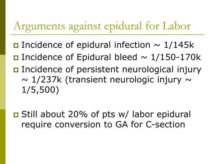 Arguments against epidural for Labor