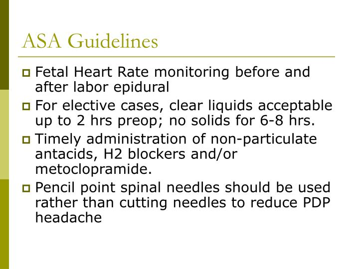 ASA Guidelines