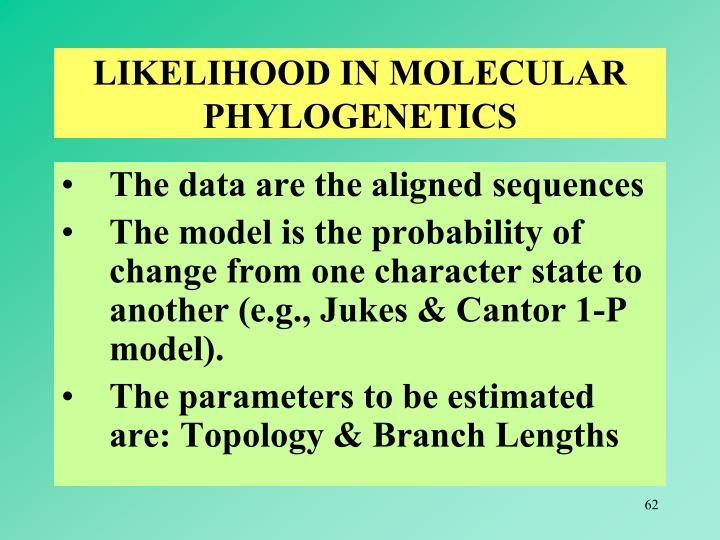 LIKELIHOOD IN MOLECULAR PHYLOGENETICS