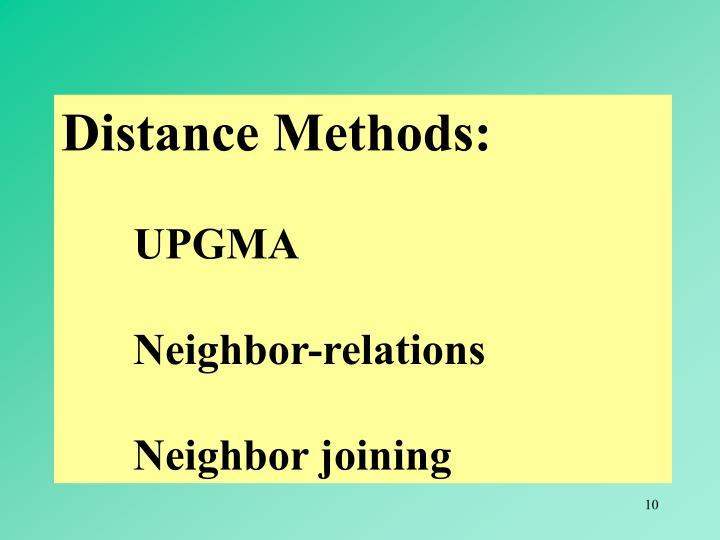 Distance Methods: