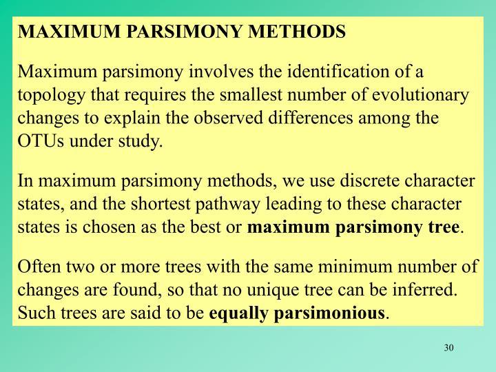 MAXIMUM PARSIMONY METHODS