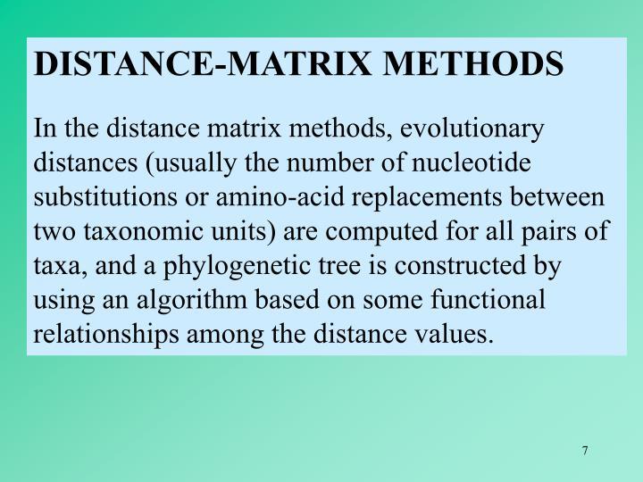 DISTANCE-MATRIX METHODS