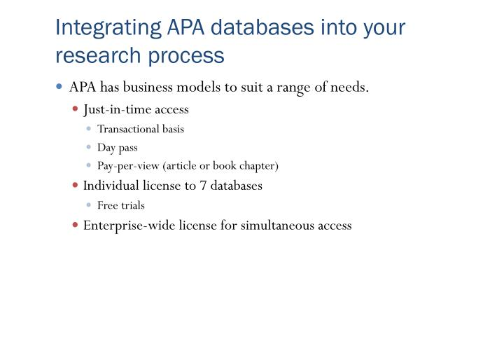 Integrating APA databases into your research process