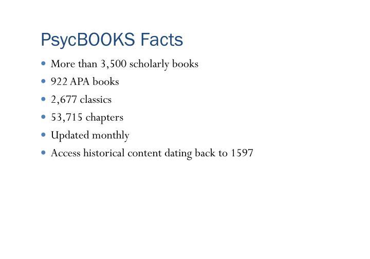 PsycBOOKS Facts