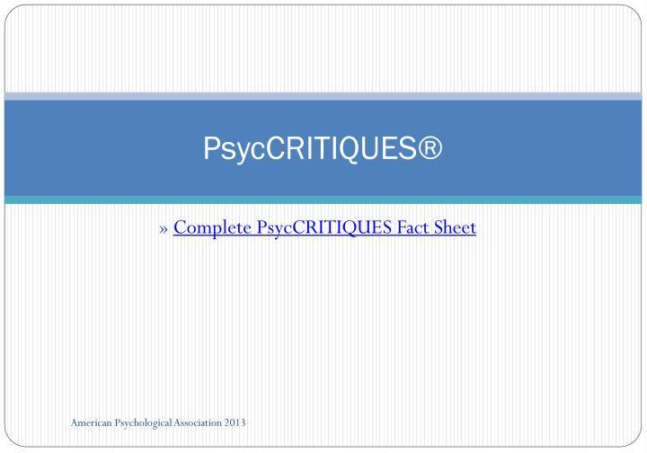 PsycCRITIQUES®