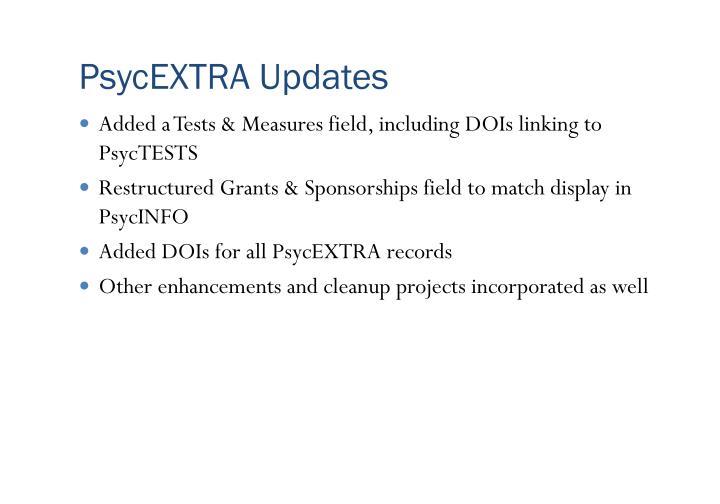 PsycEXTRA Updates