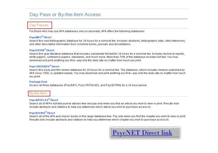 PsycNET Direct link