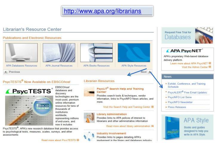 http://www.apa.org/librarians