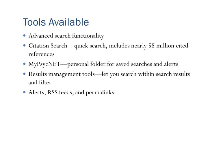 Tools Available
