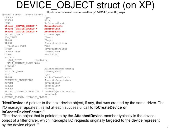 DEVICE_OBJECT struct (on XP)