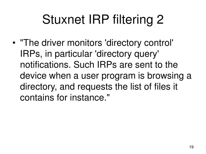 Stuxnet IRP filtering 2