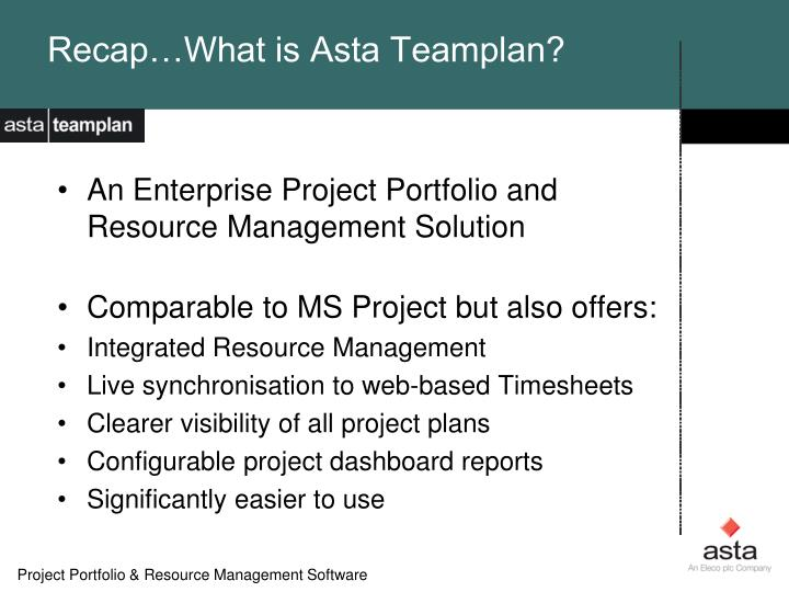 Recap…What is Asta Teamplan?