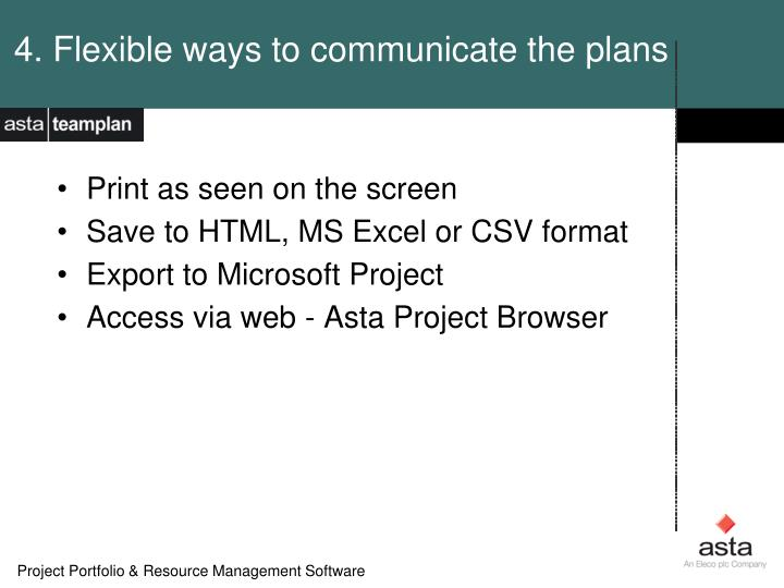 4. Flexible ways to communicate the plans