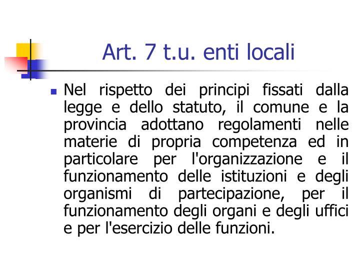 Art. 7 t.u. enti locali