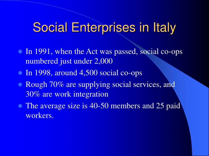 Social Enterprises in Italy