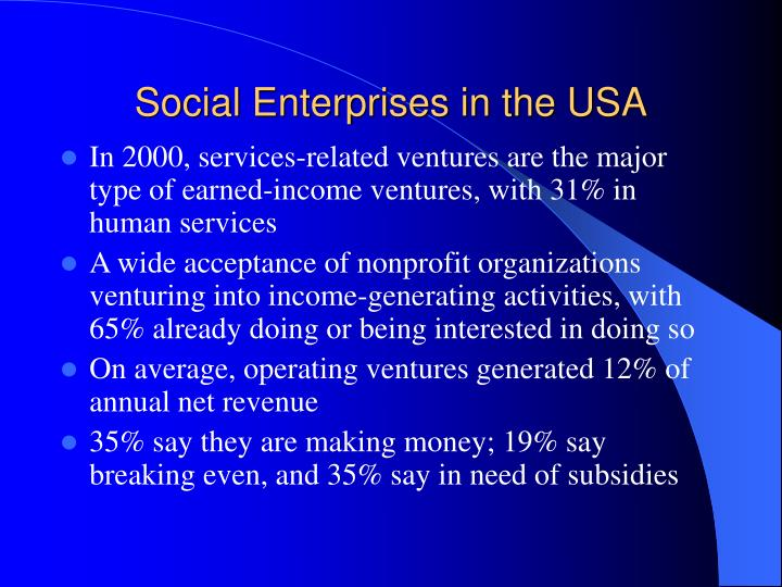 Social Enterprises in the USA