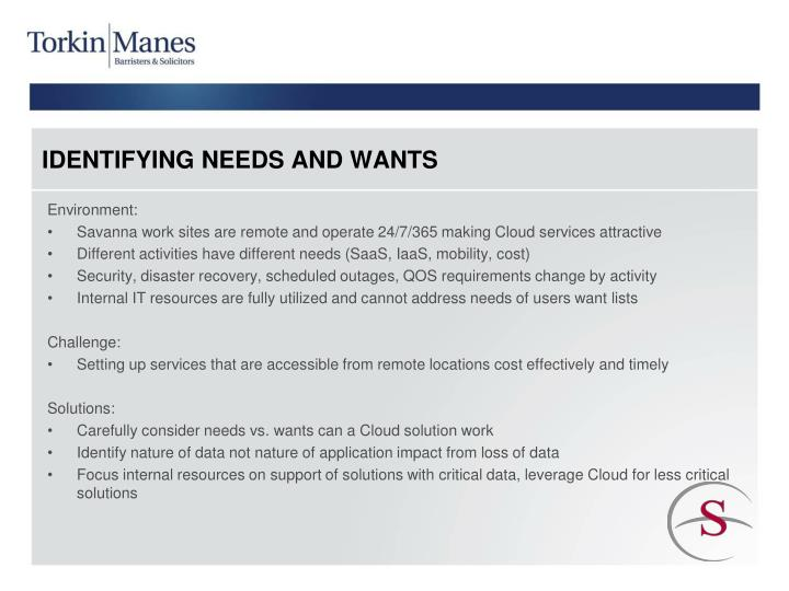 IDENTIFYING NEEDS AND WANTS