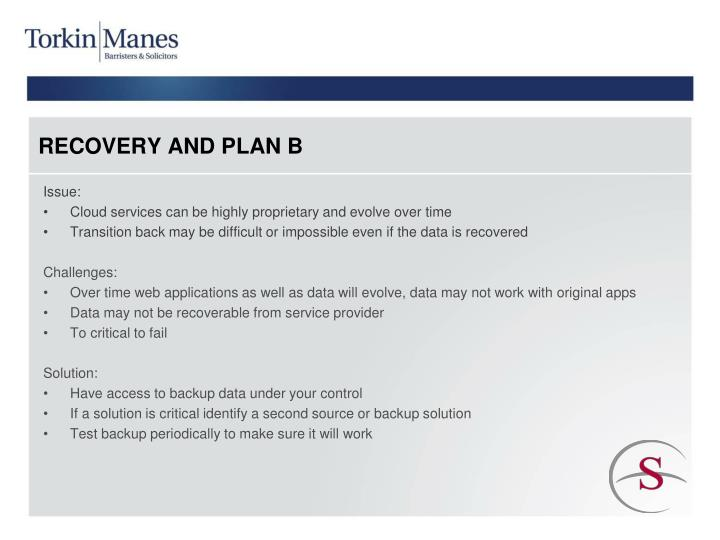 RECOVERY AND PLAN B