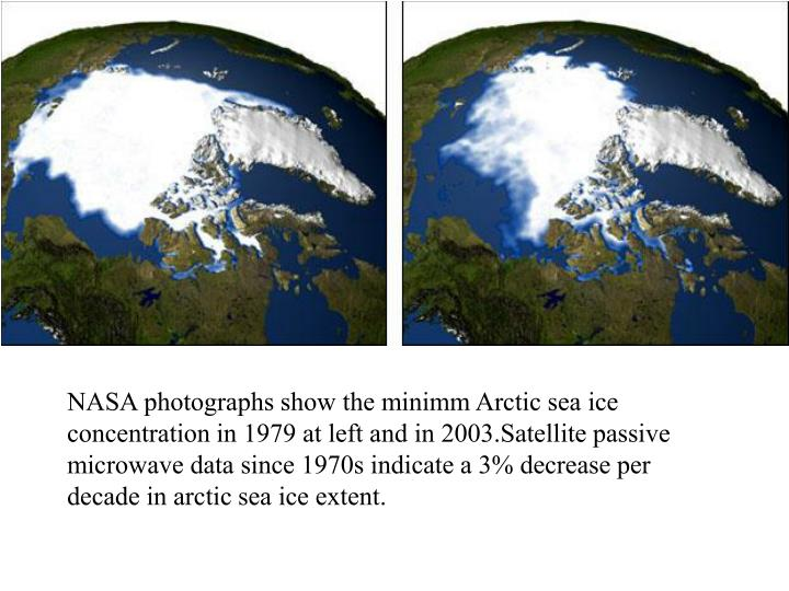 NASA photographs show the minimm Arctic sea ice concentration in 1979 at left and in 2003.Satellite passive microwave data since 1970s indicate a 3% decrease per decade in arctic sea ice extent.