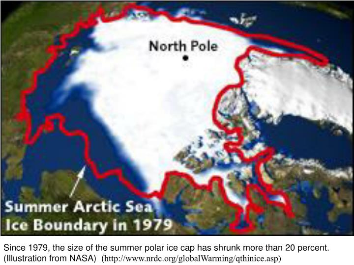 Since 1979, the size of the summer polar ice cap has shrunk more than 20 percent.
