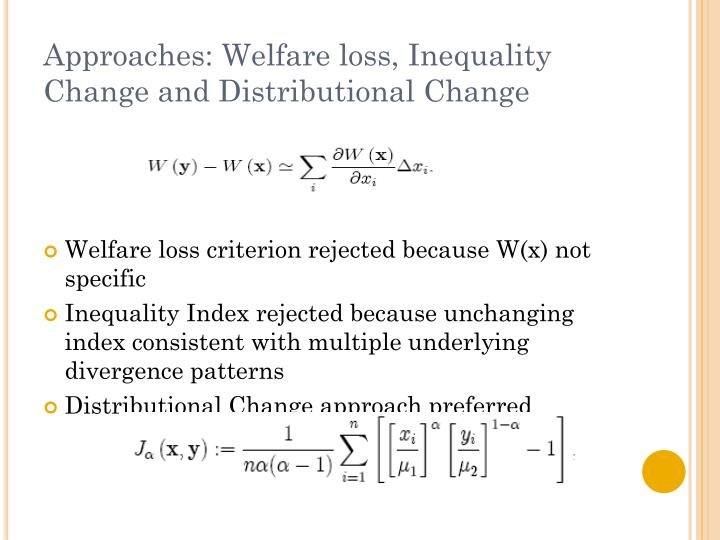 Approaches: Welfare loss, Inequality Change and Distributional Change