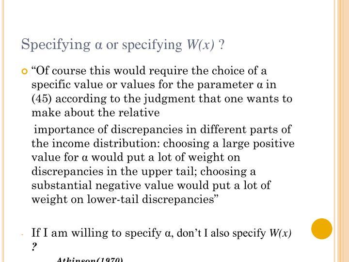 Specifying