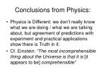 conclusions from physics