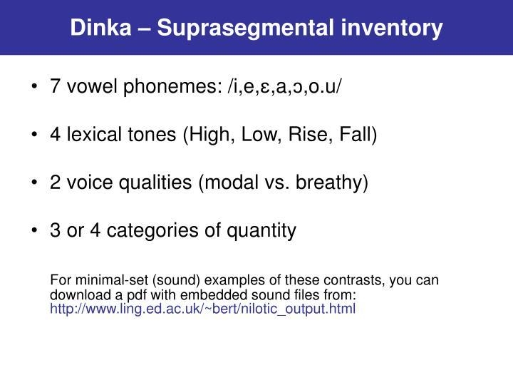Dinka – Suprasegmental inventory