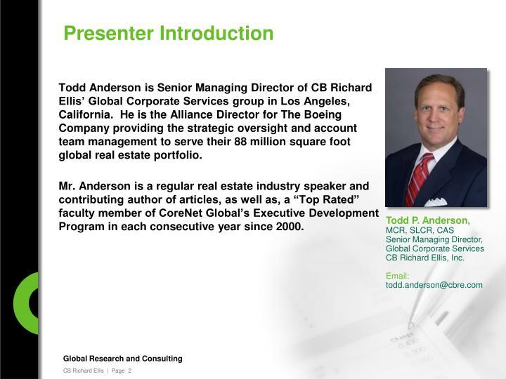 Presenter Introduction