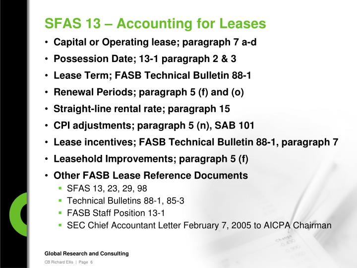 SFAS 13 – Accounting for Leases