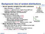 background use of random distributions