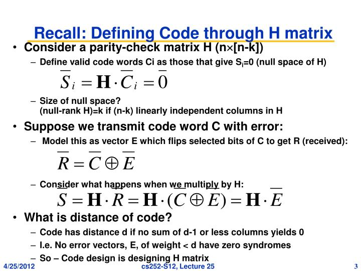 Recall defining code through h matrix