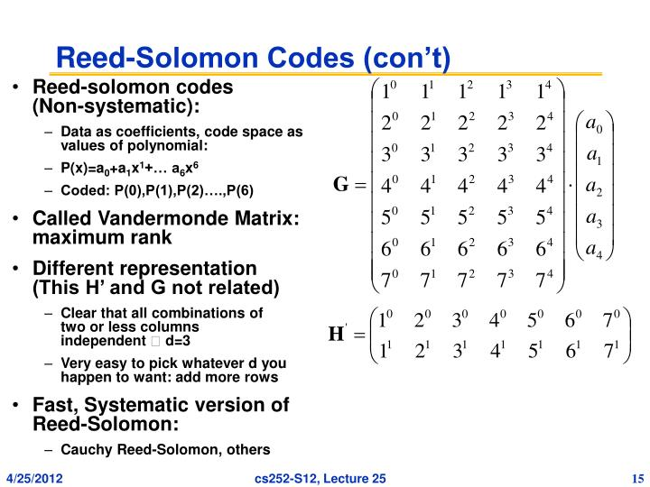 Reed-Solomon Codes (con't)