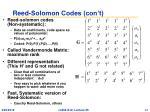 reed solomon codes con t