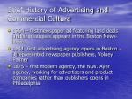 brief history of advertising and commercial culture