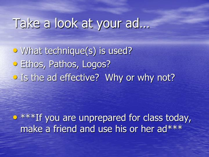 Take a look at your ad…