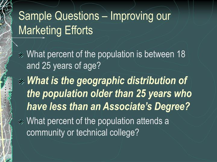 Sample Questions – Improving our Marketing Efforts