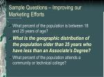 sample questions improving our marketing efforts1