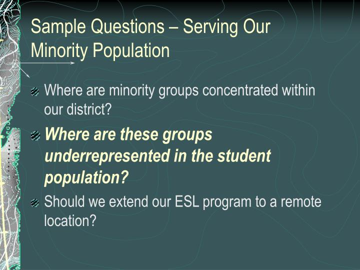 Sample Questions – Serving Our Minority Population