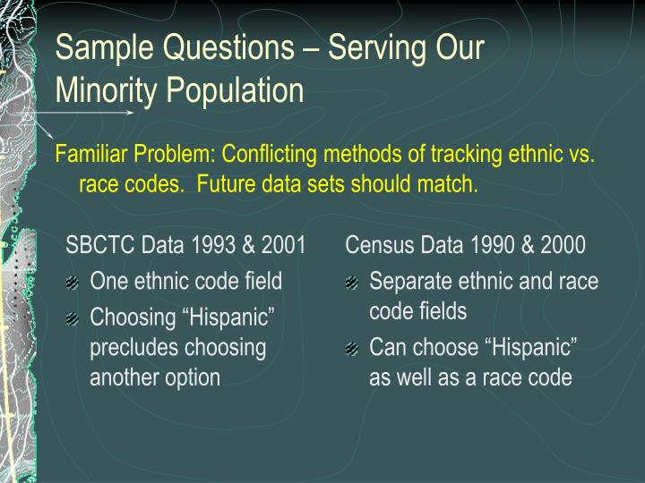 Familiar Problem: Conflicting methods of tracking ethnic vs. race codes.  Future data sets should match.