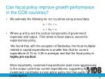 can fiscal policy improve growth performance in the ccb countries