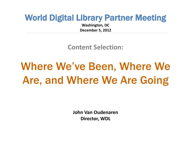 World Digital Library Partner Meeting