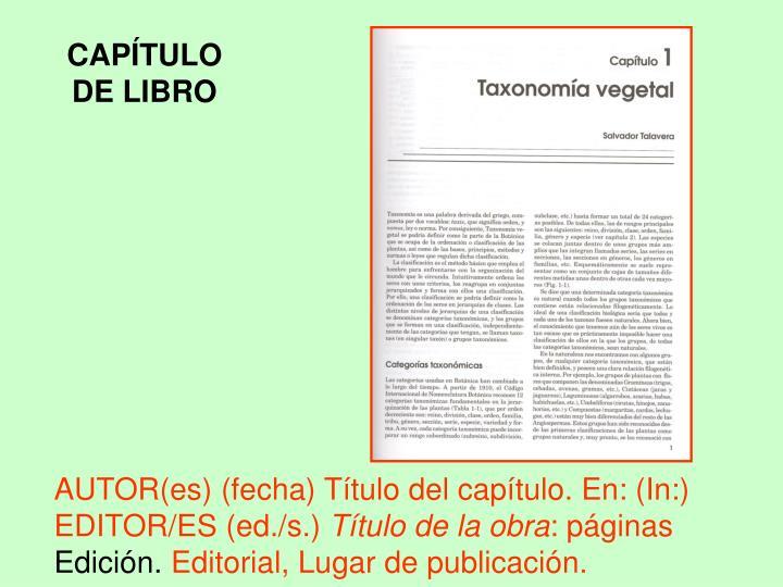 CAPÍTULO DE LIBRO