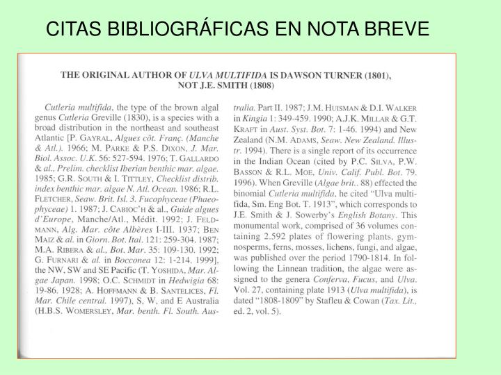 CITAS BIBLIOGRÁFICAS EN NOTA BREVE