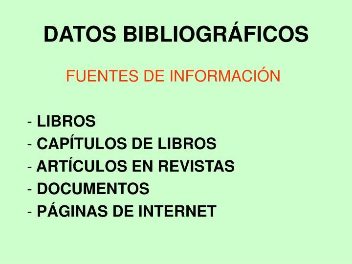 DATOS BIBLIOGRÁFICOS