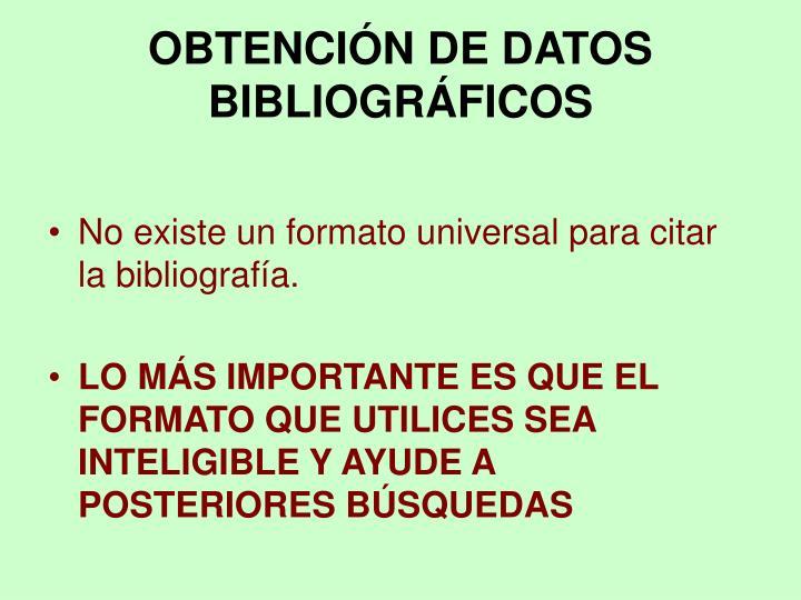 OBTENCIÓN DE DATOS BIBLIOGRÁFICOS