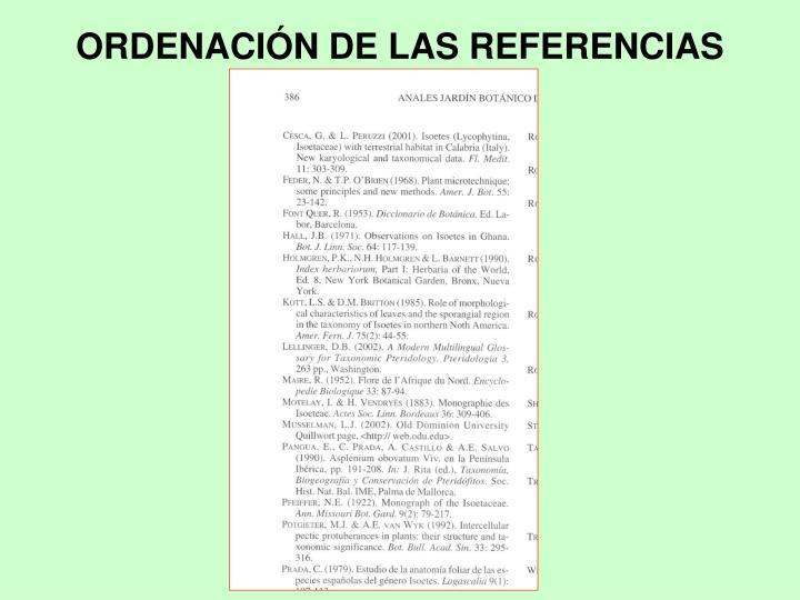 ORDENACIÓN DE LAS REFERENCIAS