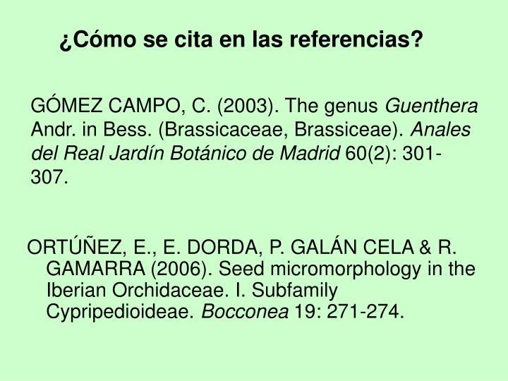 GÓMEZ CAMPO, C. (2003). The genus