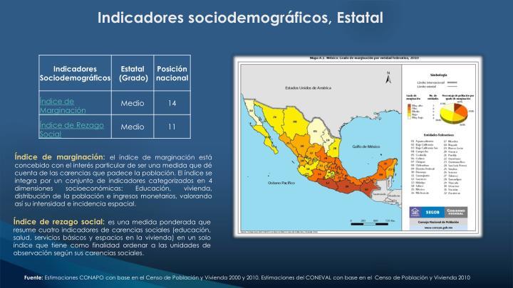Indicadores sociodemográficos, Estatal
