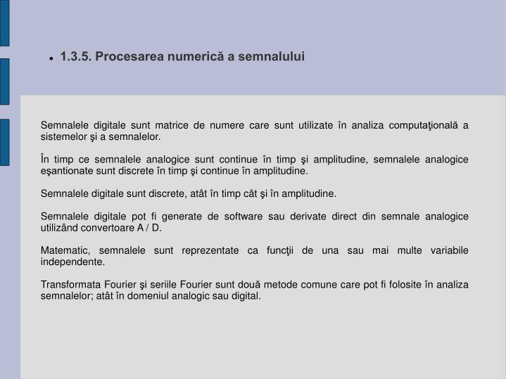 1.3.5. Procesarea numerică a semnalului
